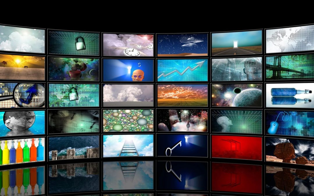 20 television screens with various pictures